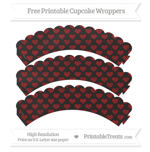 Free Dark Red Heart Pattern Chalk Style Scalloped Cupcake Wrappers