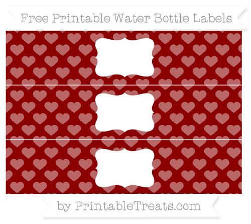 Free Dark Red Heart Pattern Water Bottle Labels