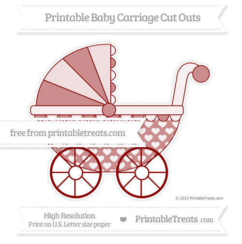 Free Dark Red Heart Pattern Extra Large Baby Carriage Cut Outs