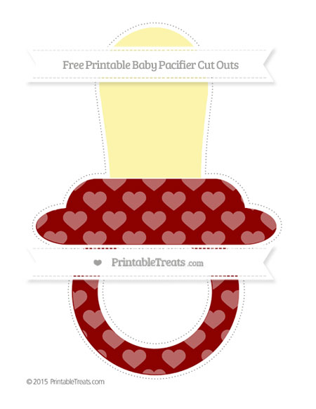 Free Dark Red Heart Pattern Extra Large Baby Pacifier Cut Outs