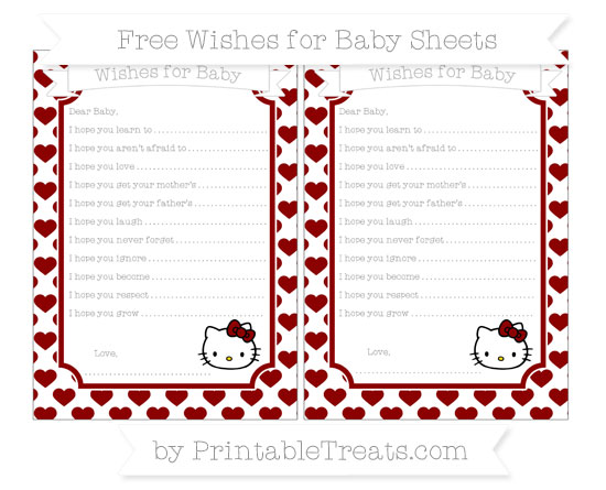 Free Dark Red Heart Pattern Hello Kitty Wishes for Baby Sheets