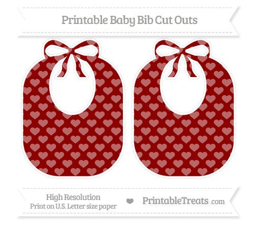 Free Dark Red Heart Pattern Large Baby Bib Cut Outs