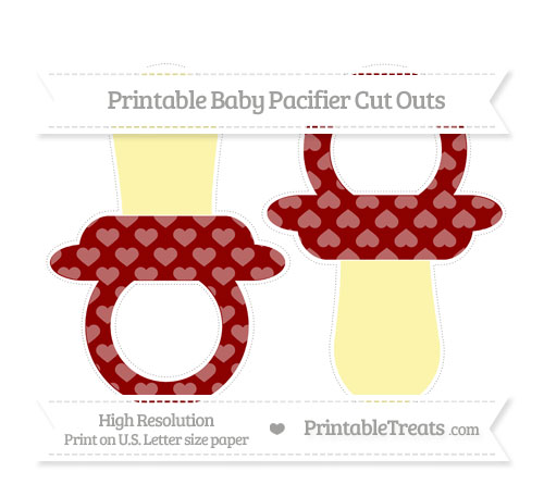 Free Dark Red Heart Pattern Large Baby Pacifier Cut Outs