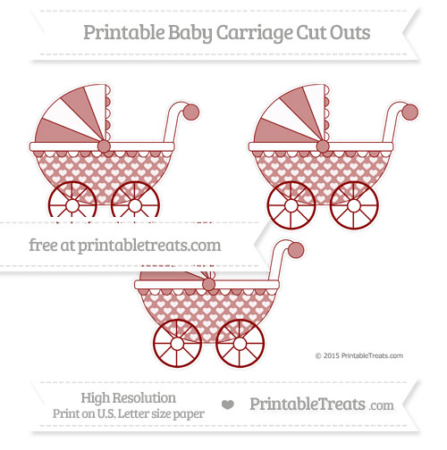Free Dark Red Heart Pattern Medium Baby Carriage Cut Outs