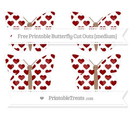 Free Dark Red Heart Pattern Medium Butterfly Cut Outs