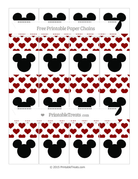 Free Dark Red Heart Pattern Mickey Mouse Paper Chains