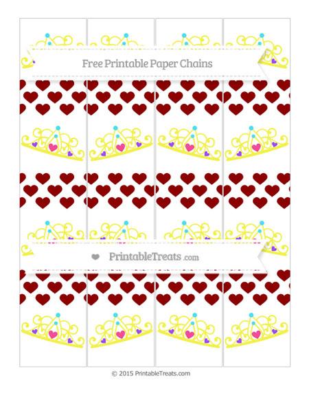 Free Dark Red Heart Pattern Princess Tiara Paper Chains