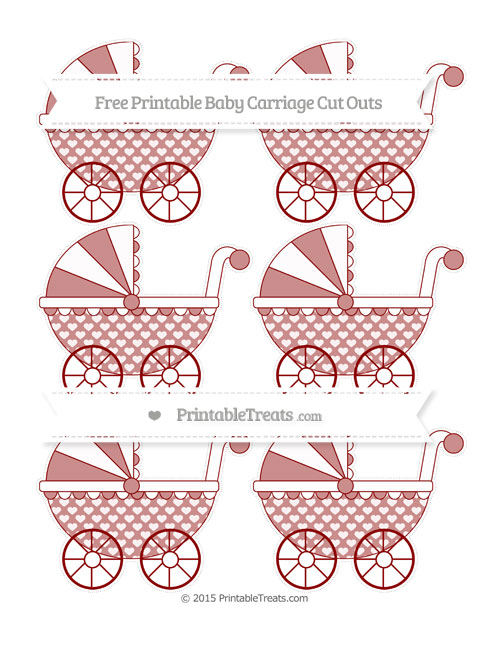 Free Dark Red Heart Pattern Small Baby Carriage Cut Outs