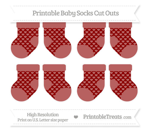Free Dark Red Heart Pattern Small Baby Socks Cut Outs
