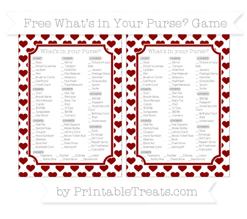 Free Dark Red Heart Pattern What's in Your Purse Baby Shower Game