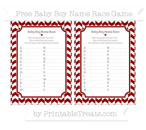 Free Dark Red Herringbone Pattern Baby Boy Name Race Game