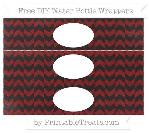 Free Dark Red Herringbone Pattern Chalk Style DIY Water Bottle Wrappers