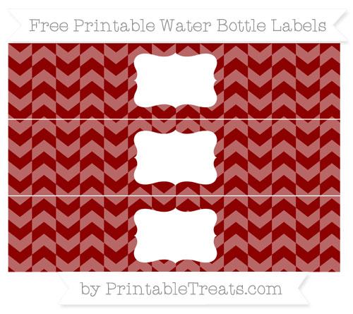 Free Dark Red Herringbone Pattern Water Bottle Labels