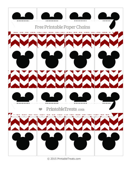Free Dark Red Herringbone Pattern Mickey Mouse Paper Chains