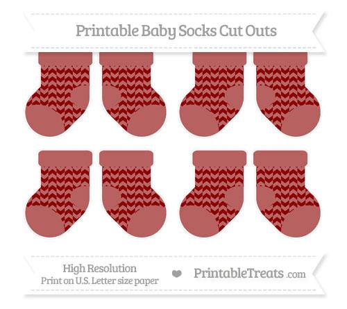 Free Dark Red Herringbone Pattern Small Baby Socks Cut Outs