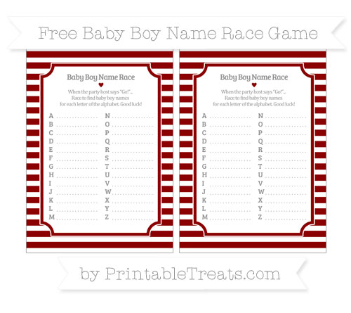 Free Dark Red Horizontal Striped Baby Boy Name Race Game