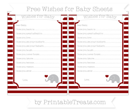 Free Dark Red Horizontal Striped Baby Elephant Wishes for Baby Sheets