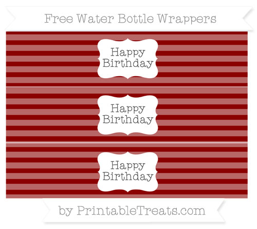 Free Dark Red Horizontal Striped Happy Birhtday Water Bottle Wrappers