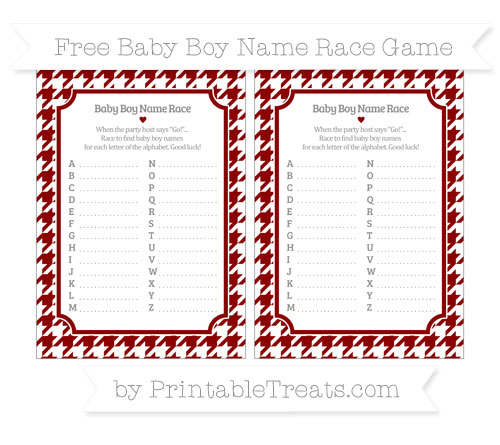 Free Dark Red Houndstooth Pattern Baby Boy Name Race Game