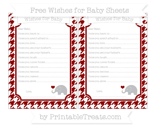 Free Dark Red Houndstooth Pattern Baby Elephant Wishes for Baby Sheets