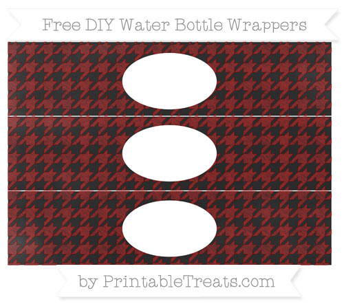 Free Dark Red Houndstooth Pattern Chalk Style DIY Water Bottle Wrappers