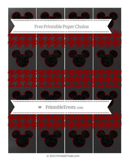 Free Dark Red Houndstooth Pattern Chalk Style Mickey Mouse Paper Chains