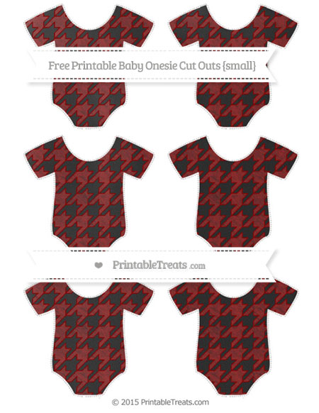 Free Dark Red Houndstooth Pattern Chalk Style Small Baby Onesie Cut Outs
