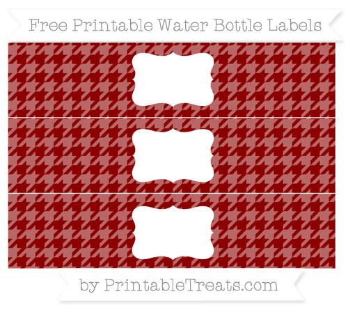 Free Dark Red Houndstooth Pattern Water Bottle Labels