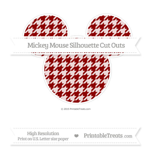Free Dark Red Houndstooth Pattern Extra Large Mickey Mouse Silhouette Cut Outs