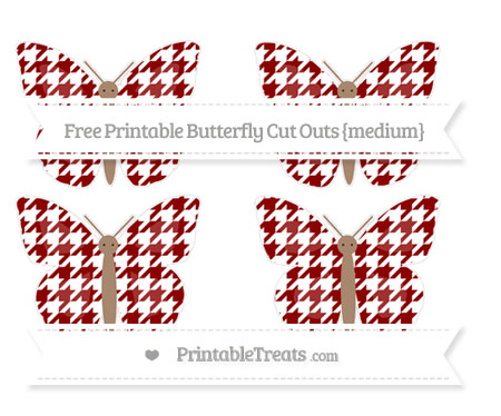 Free Dark Red Houndstooth Pattern Medium Butterfly Cut Outs