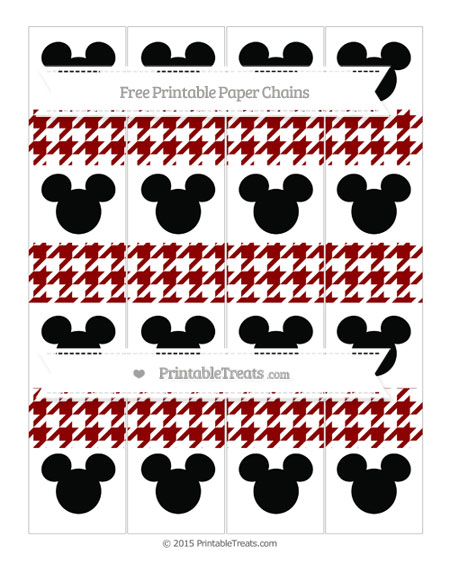 Free Dark Red Houndstooth Pattern Mickey Mouse Paper Chains