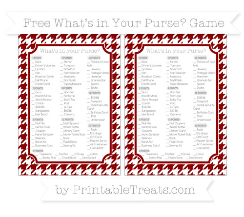 Free Dark Red Houndstooth Pattern What's in Your Purse Baby Shower Game