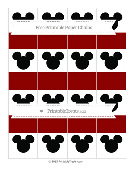 Free Dark Red Mickey Mouse Paper Chains