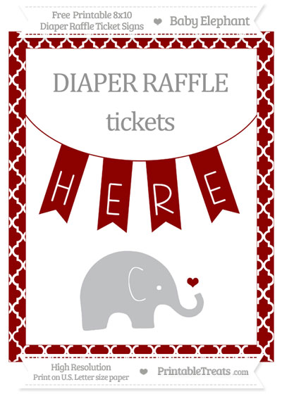 Free Dark Red Moroccan Tile Baby Elephant 8x10 Diaper Raffle Ticket Sign
