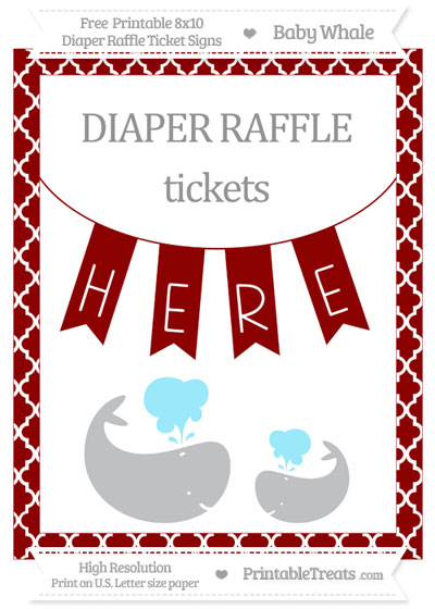 Free Dark Red Moroccan Tile Baby Whale 8x10 Diaper Raffle Ticket Sign