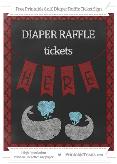 Free Dark Red Moroccan Tile Chalk Style Baby Whale 8x10 Diaper Raffle Ticket Sign