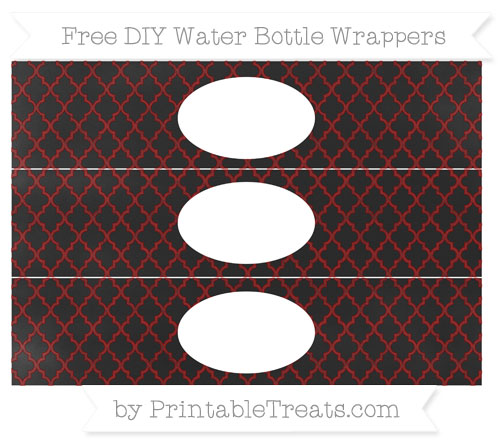 Free Dark Red Moroccan Tile Chalk Style DIY Water Bottle Wrappers