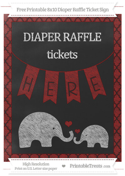 Free Dark Red Moroccan Tile Chalk Style Elephant 8x10 Diaper Raffle Ticket Sign