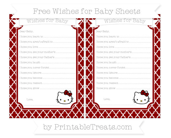 Free Dark Red Moroccan Tile Hello Kitty Wishes for Baby Sheets