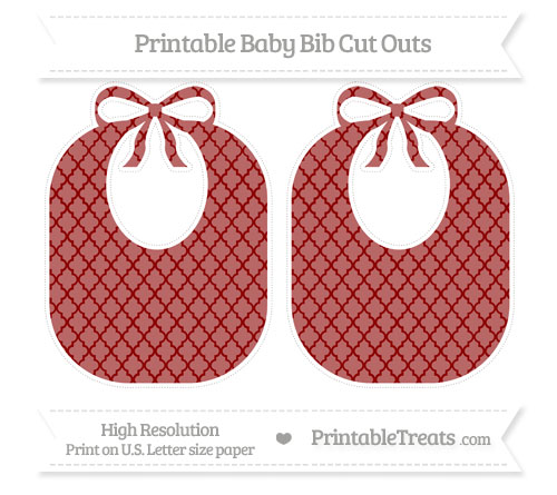 Free Dark Red Moroccan Tile Large Baby Bib Cut Outs