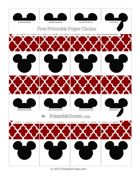 Free Dark Red Moroccan Tile Mickey Mouse Paper Chains
