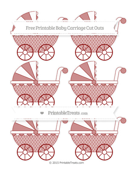 Free Dark Red Moroccan Tile Small Baby Carriage Cut Outs
