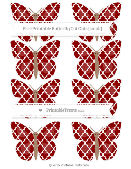 Free Dark Red Moroccan Tile Small Butterfly Cut Outs
