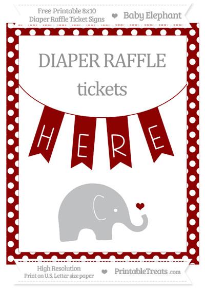 Free Dark Red Polka Dot Baby Elephant 8x10 Diaper Raffle Ticket Sign