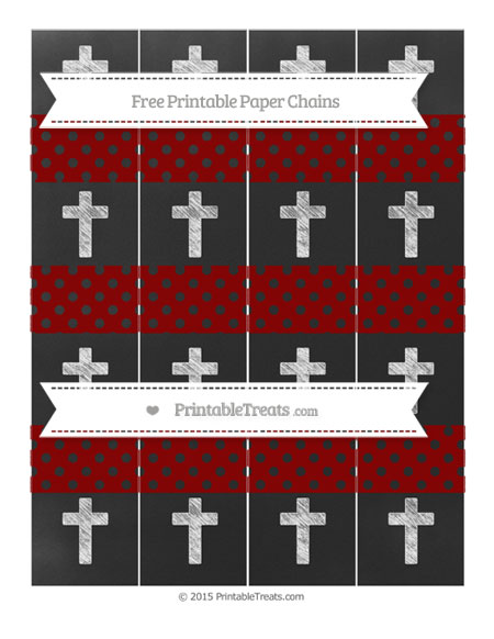 Free Dark Red Polka Dot Chalk Style Cross Paper Chains