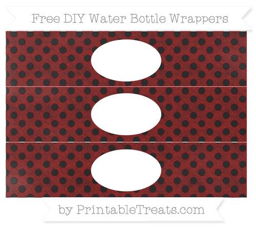 Free Dark Red Polka Dot Chalk Style DIY Water Bottle Wrappers
