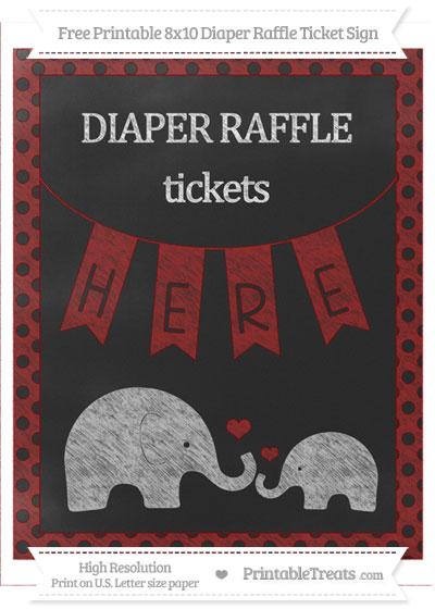 Free Dark Red Polka Dot Chalk Style Elephant 8x10 Diaper Raffle Ticket Sign