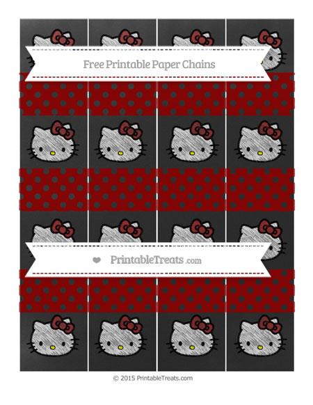 Free Dark Red Polka Dot Chalk Style Hello Kitty Paper Chains