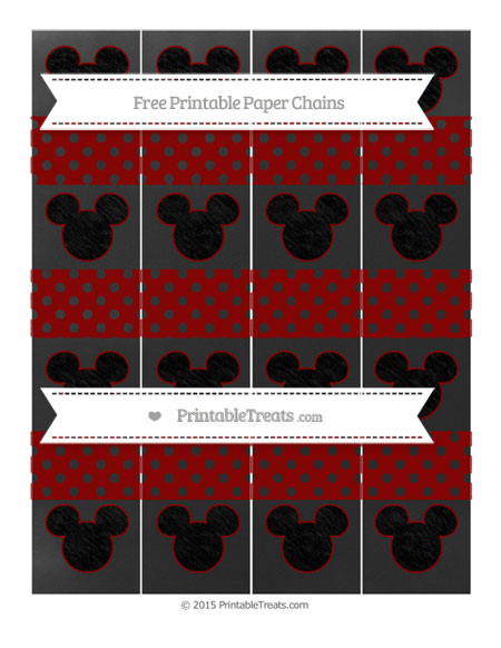 Free Dark Red Polka Dot Chalk Style Mickey Mouse Paper Chains