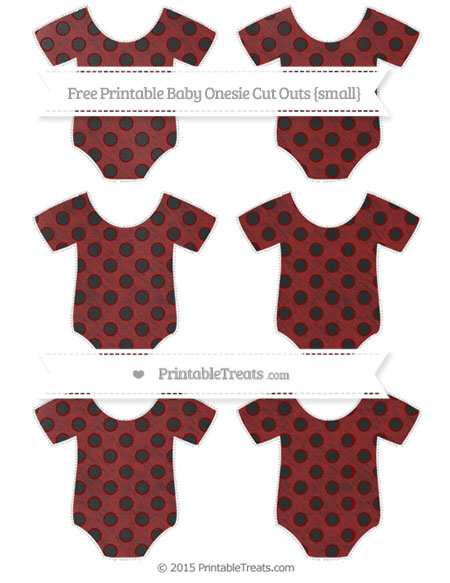 Free Dark Red Polka Dot Chalk Style Small Baby Onesie Cut Outs
